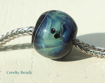 "Handmade Large holed lampwork beads "" Stormy skies! "" Creeky Beads SRA"
