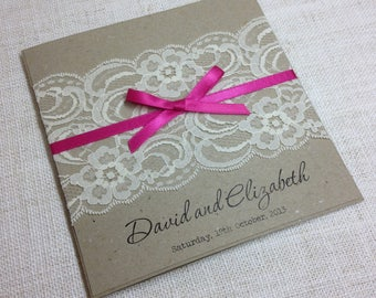 Vintage Lace Square Invitation - SAMPLE