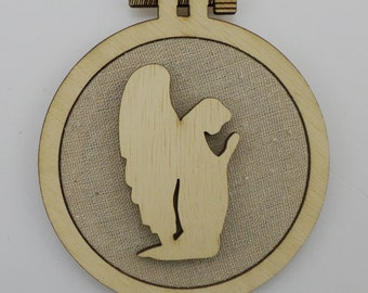 Christmas Angel - Laser cut embroidery hoop with quality textile