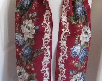 """Beautiful Burgundy Floral Soft Silk Skinny Scarf - 10 x 52"""" Long"""