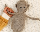 Knitted monkey toy, natural toy, undyed wool, baby gift, soft toy, monkey plushie