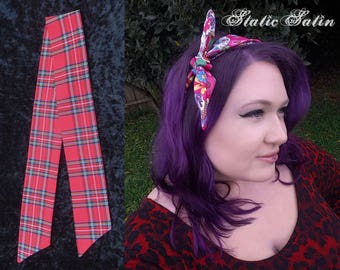Tie Up Red Tartan Plaid Headband Hair Band Accessory Royal Stewart Adult Size