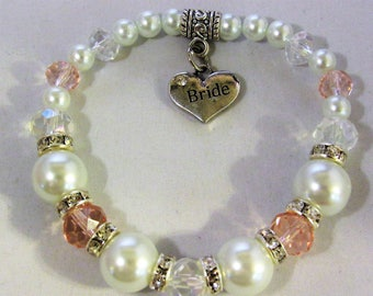 Glass Pearls and Beads Bride Charm Stretchy Bracelet
