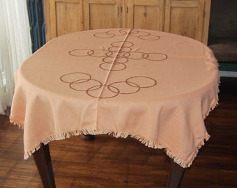 Tablecloth Vintage Art Deco Hand Embroidered Rings Peach Apricot 44 x 57