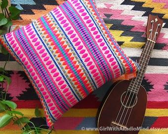 Pink Pillow Mexican Burlap Turquoise Jute Boho Cushion Cover - Bohemian Home Deco