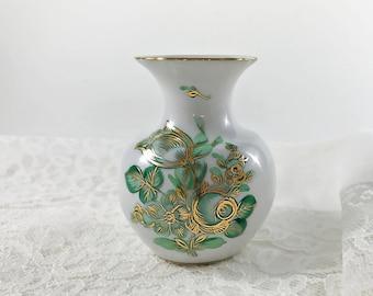 Collectible Miniature Vase Herend Porcelain Bud Vase Green Floral