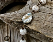 Bridal rustic bracelet bridal white stone turquoise rustic wedding country bridal jewelry bridesmaid set sets gift gifts vintage chic boho