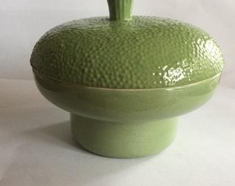 Green covered dish bowl dresser dish