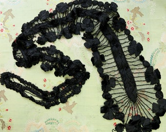 Antique large silk tulle beaded trim rayon ribbonnwork black lace flower 1.5 yards Victorian black mourning millinery hat flapper dress trim