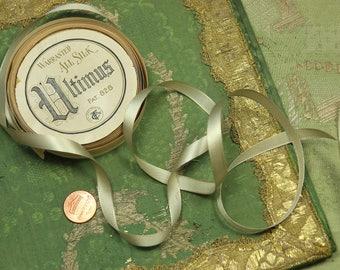 "1 yard Flapper era oyster cream duck egg silk woven  satin ribbon for ribbonwork trim tiny satin narrow new old stock 5/16"" french dolls"