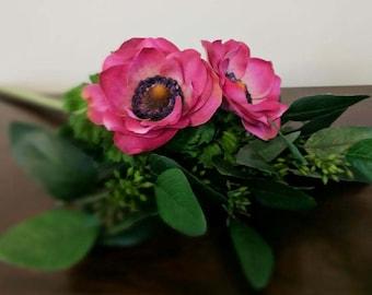 Bridesmaid Bouquet - Fuchsia Anemones and Seeded Eucalyptus
