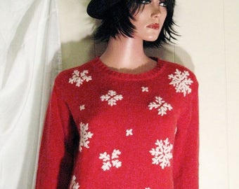WHITE STAG  Super Cute Slouchy   Ugly CHRISTMAS  Sweater Size Small