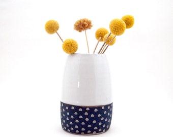 Ceramic Teal Blue Scoop Pod Vase, Small