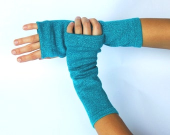 Teal Sparkle Finglerless Arm Warmers Gloves. Size S/M.