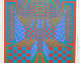 Vintage 1960s Roy Ahlgren Op Art Serigraph Signed Retro Mid Century Modern Wall Hanging Retro Art Signed Sixties Psychedelic Pop