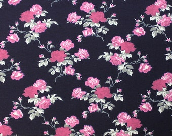 Navy Purple Magenta and Grey Rose Floral 4 Way Stretch FRENCH TERRY Knit Fabric, Club Fabrics
