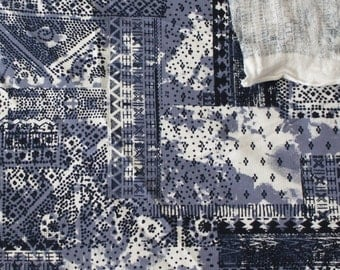 Blue White and Black Abstract Patchwork Micro French Terry Knit, 1 Yard