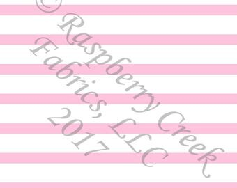 Pink and White Stripe 4 Way Stretch FRENCH TERRY Knit Fabric, Club Fabrics