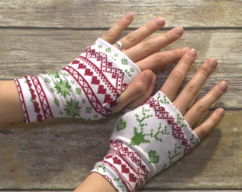 Womens Fingerless Gloves - Organic arm warmers- Short Gloves - Fingerless mitts- Texting Gloves-Driving Gloves-Hipster-Handmade