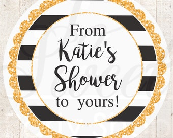 Bridal Shower Favor Labels, Wedding Favor Stickers, Baby Shower Favors, Bachelorette Party, From My Shower To Yours, Kate Spade - Set of 24
