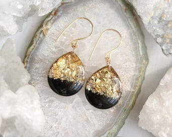 black and gold leaf teardrop earrings on 14 karat gold fill ear wires - large size
