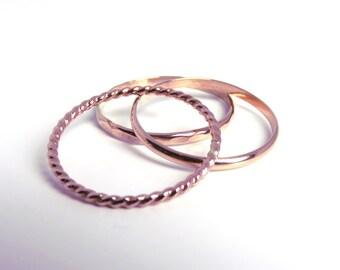 Rose gold rings, stacking rings, rose gold stack, stackable rings, pink gold rings, rose gold stacking rings, rose gold set, stack rings
