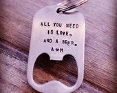 Stamped Keychain Bottle Opener, Hand Stamped Stainless Steel Bottle Opener, Groomsman Gift, Gift for Groom, Custom Bottle Opener, Key Chain