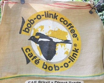 Vintage Burlap Coffee Bag, Yellow bob-o-link Bird, Double sided print, Heavy Weight Jute Woven Brazil Coffee bag,
