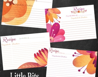 Watercolor Florals Set - Printable Recipe Cards - Instant Download