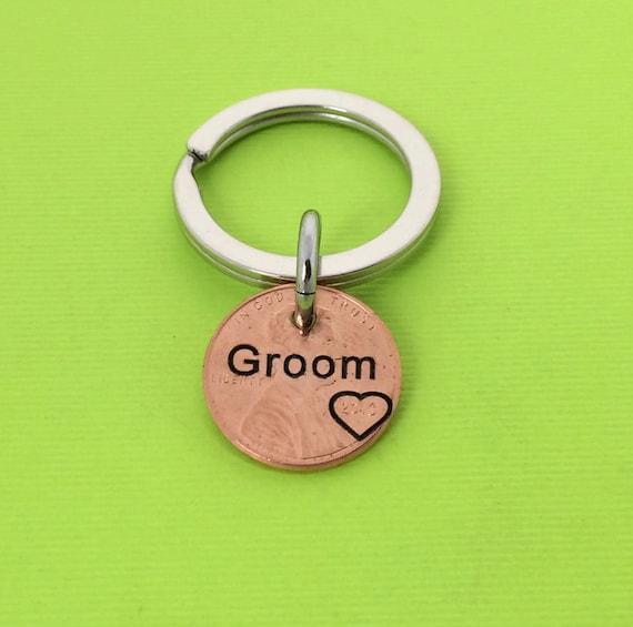 Keychain For Wedding Gift : Groom KeychainWedding GiftPersonalized KeychainGroomsman ...
