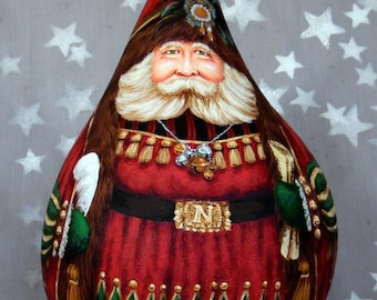 """Busy Day in the Workshop, Santa Claus gourd, hand painted, 11 3/4"""" x 7"""" diameter"""