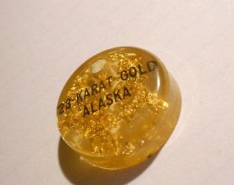 Vintage ALASKA 1960s Charm, 23 Karat almost Pure Gold suspended in Lucite.