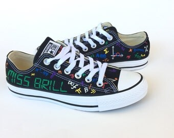 Algebra and Geometry Converse Mathematical Equations Math Converse Hand Painted Shoes Teacher Gift Geek Gift