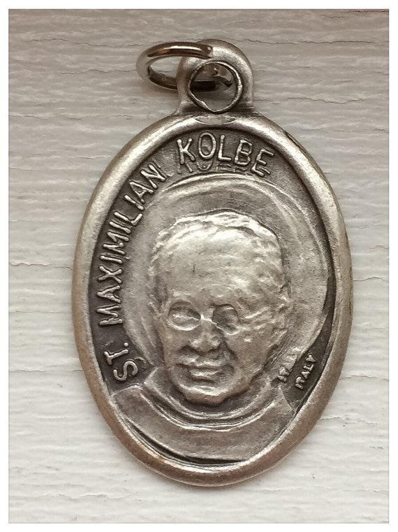 5 Patron Saint Medal Findings, Maximilian Kolbe, Die Cast Silverplate, Silver Color, Oxidized Metal, Made in Italy, Charm, Religious, RM715