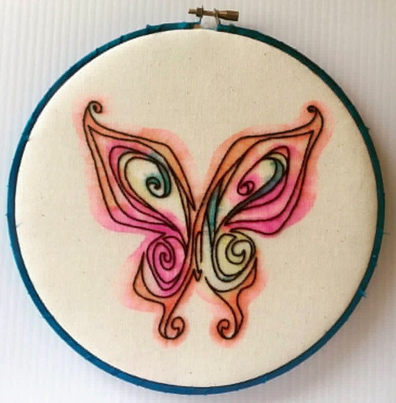 Painted Butterfly Hand Embroidered Hoop Art