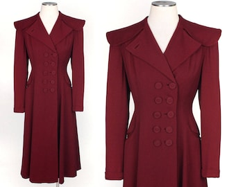 vintage 1940s princess coat • cranberry gabardine nipped waist coat by Richi's of Hollywood