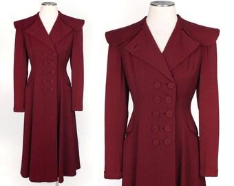vintage 1940s princess coat •cranberry gabardine nipped waist coat by Richi's of Hollywood