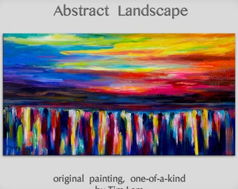 "Abstract painting landscape art Original Modern simplicity texture Acrylic Painting on stretched canvas by Tim Lam 48"" x 24"""