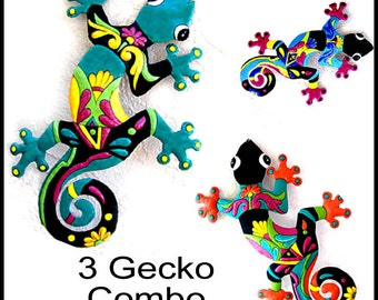 3 Geckos Metal Art - Haitian Painted Tropical Metal Wall Hangings - Recycled Steel Drum Garden Art - Tropical Home Decor - M-Gecko-Combo - 2