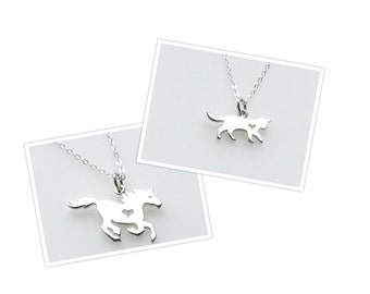 Sterling Silver Charm Necklace Dog Cat Kitten Yorkie Lab Chihuahua Dachshund Horse Horseshoe Heart for Women ONE Necklace with ONE charm
