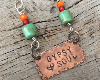 Bohemian Gypsy Soul Pendant Copper and Silver Necklace