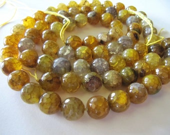10mm AGATE Beads in Amber Yellow, Camel Brown, Gray Shades, Faceted, Round, Full Strands and Half Strands, Semi Translucent, Gemstones Beads