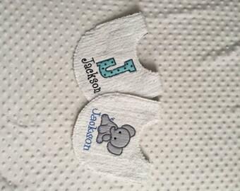 Personalized Baby Boy Bibs - Set of 2 Chenille Bibs