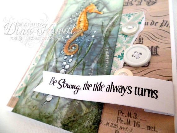 Handmade Card - Be Strong - Seahorse