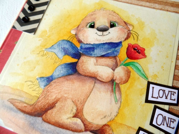 handmade greeting cards - Love one an otter