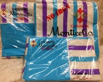 Vintage Sheet Set Aqua Purple Stripe Unopened Unused Cannon Twin Flat Fitted Pillows