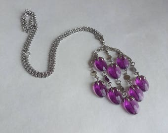 Purple Wisteria Bead Pendant Necklace by Sarah Coventry