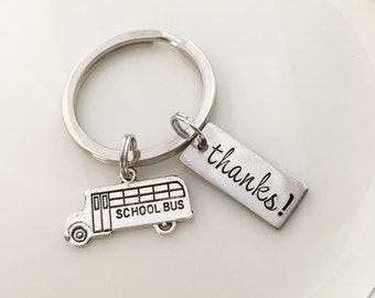 "School bus driver gift ""thanks"", hand stamped keychain"
