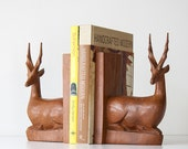 Vintage African Hand Carved Wood Gazelle Bookends