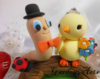 Wedding Cake Topper-Love Worm and Bird couple with Log & Grass Base--Custom Order
